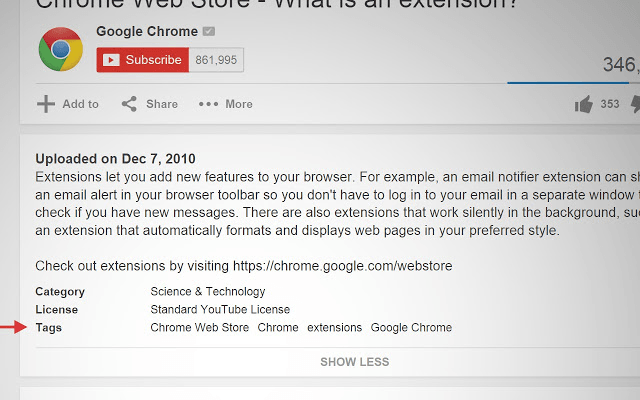 YouTube SEO tags extension