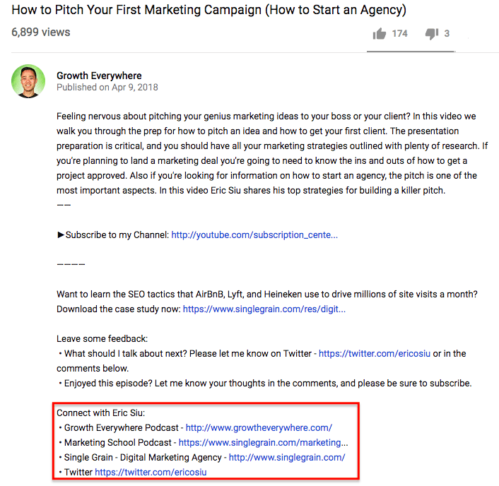 YouTube SEO video description