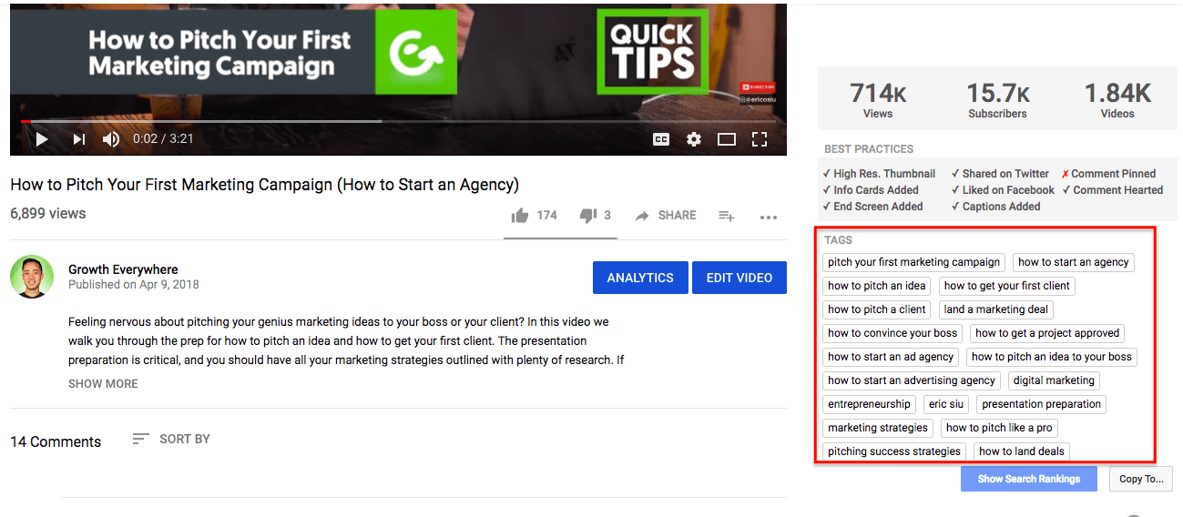 YouTube SEO video tags