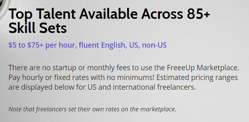 FreeUp Marketplace rates
