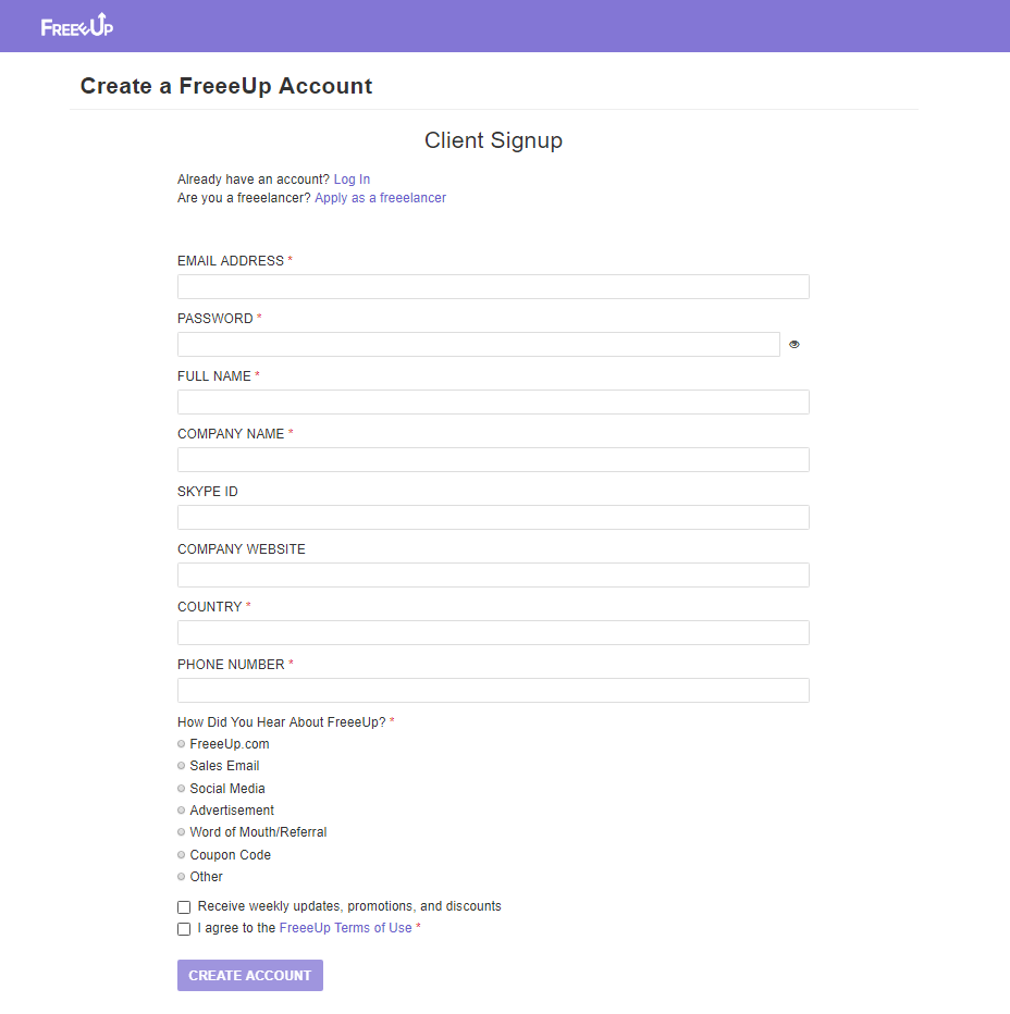 FreeUp client signup page