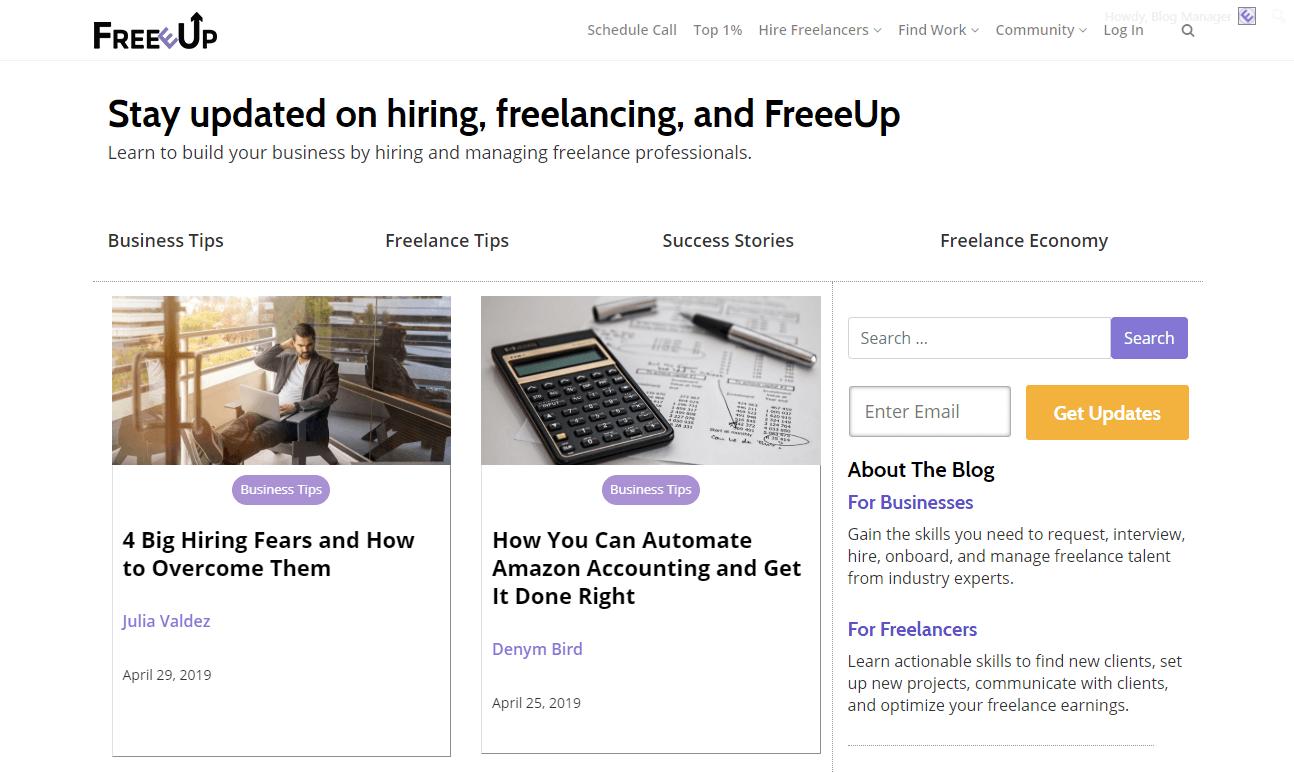 FreeeUp freelancing blogs