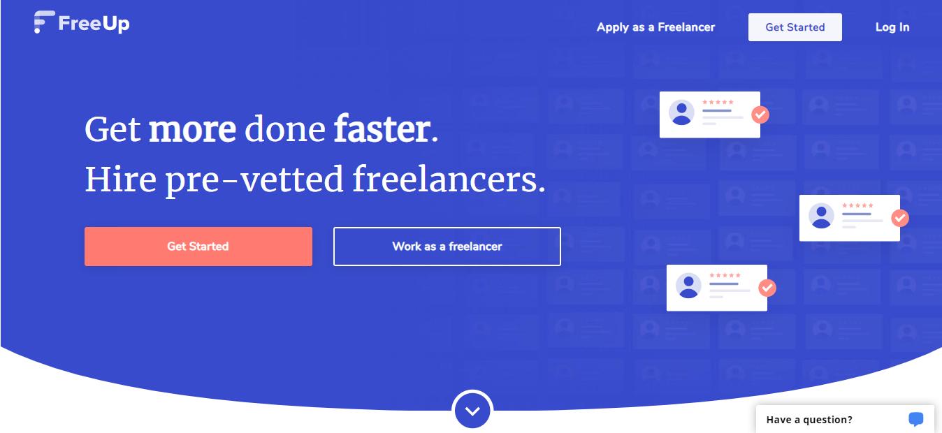 screenshot of FreeUp website