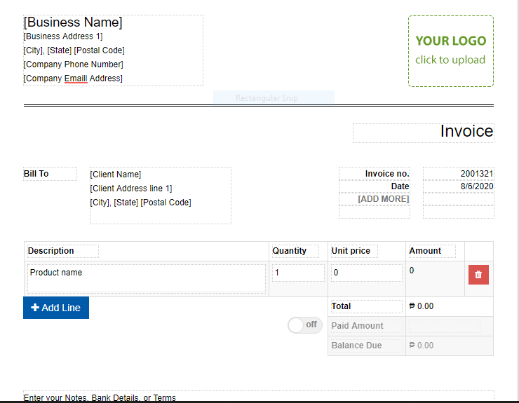 screenshot of an invoice template from Invoicely