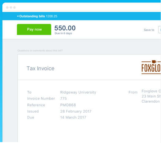 screenshot from Xero