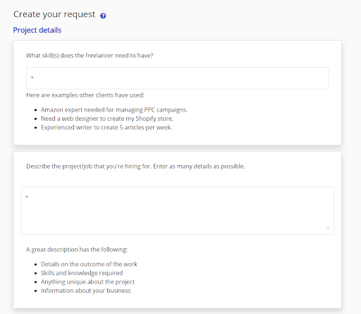 "screenshot of the form ""Create Your Request"""