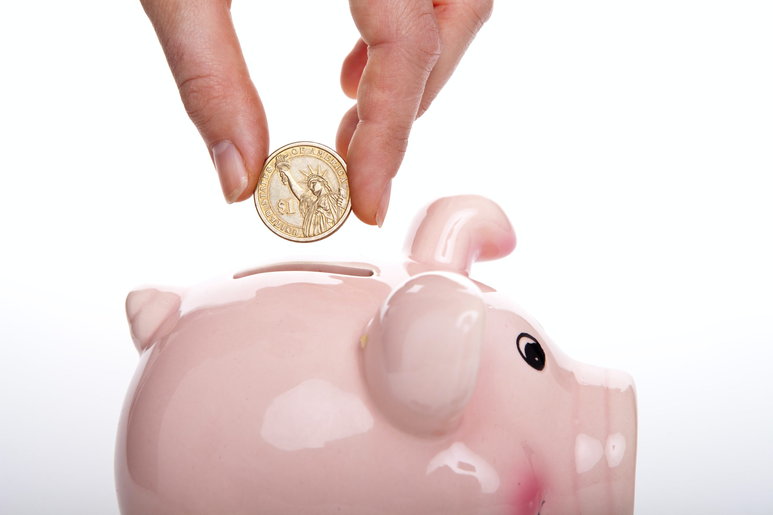 hire an expert and save money as depicted by a hand holding a coin about to be dropped inside a piggy bank