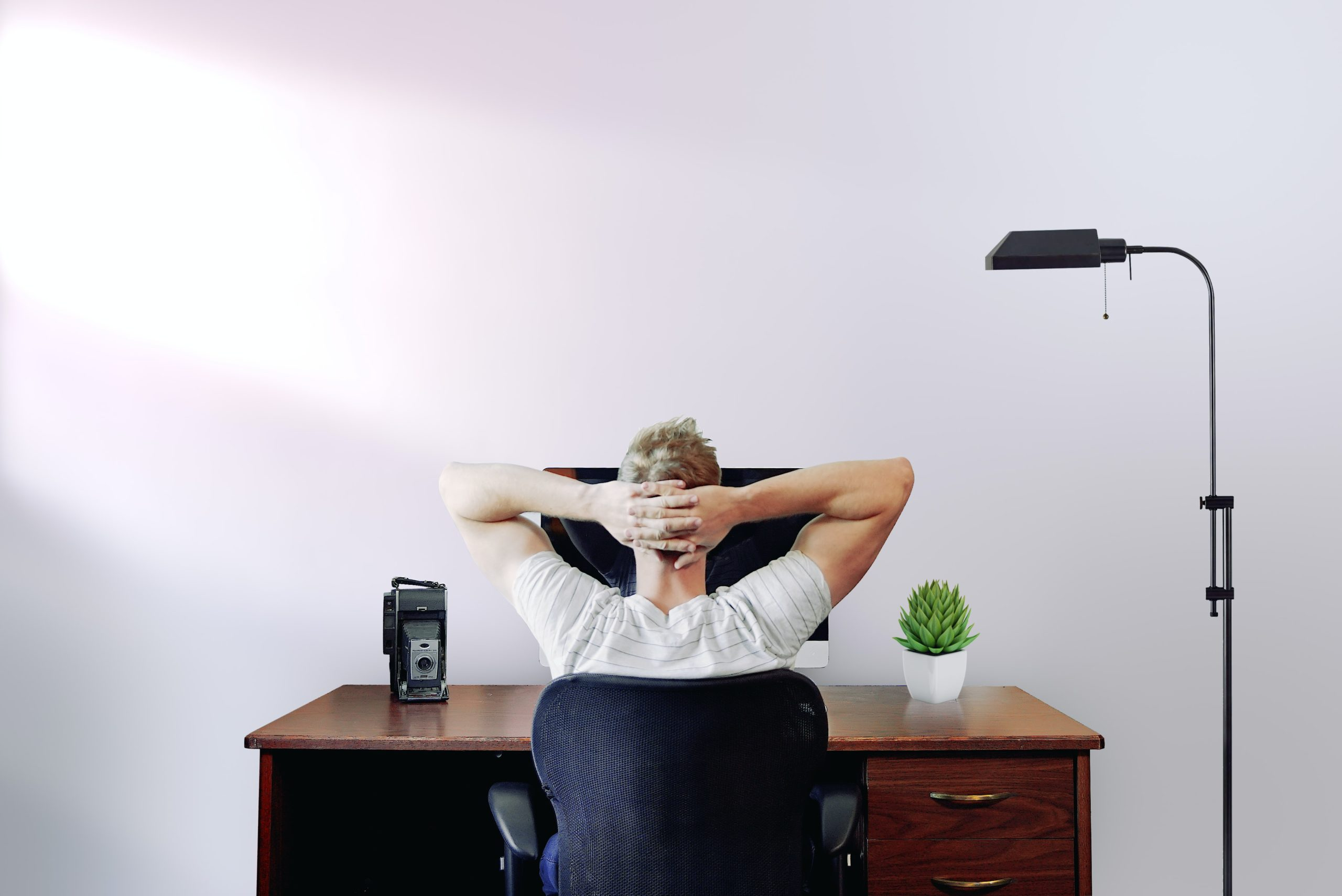 seated freelancer with hands on the back of his head contemplating the use of meta keywords in front of his desktop computer