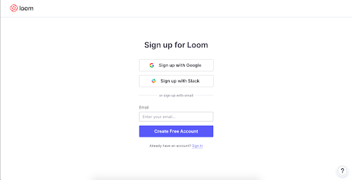 screenshot of sign up page for Loom