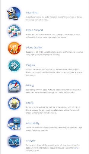 screenshot of Audacity features