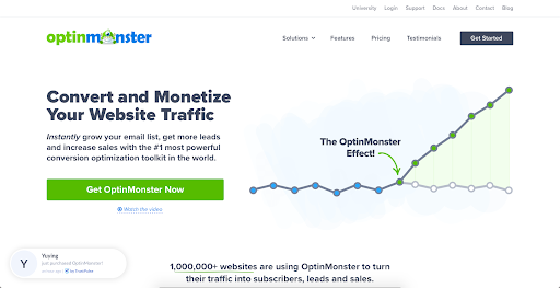 screenshot of Optin Monster website