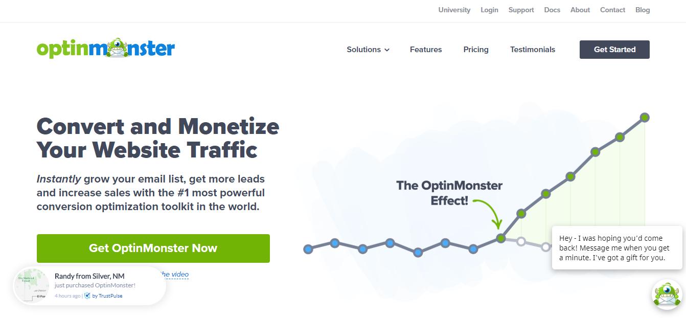 screenshot of OptinMonster website