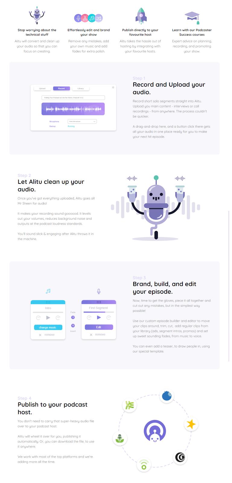 screenshot of Alitu features
