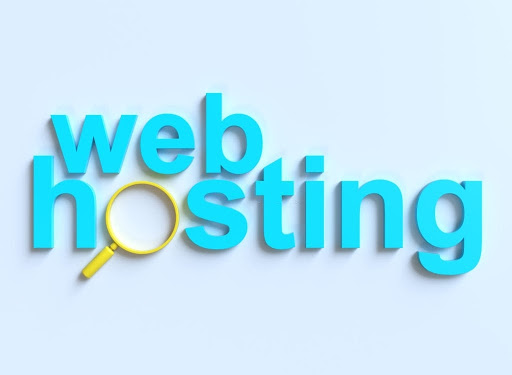 """graphic representation of the phrase """"web hosting"""" with the """"o"""" made from the circle of a magnifying glass"""