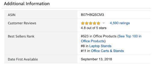 screenshot of Additional Information box featuring Amazon Best Seller Rank