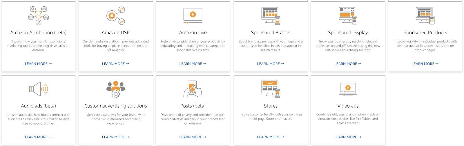 screen shot of Amazon advertising possibilities