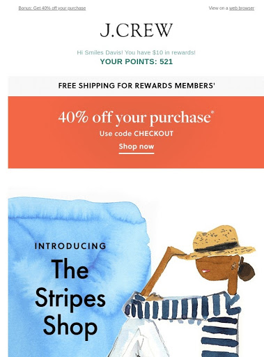 screenshot of an ad that offers a reader reward points for shopping