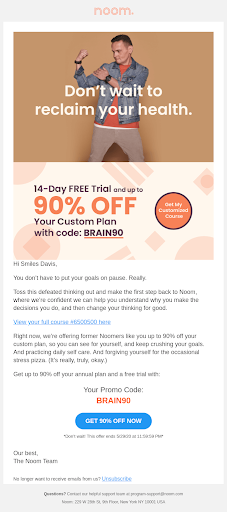 screenshot of an ad for a reader to try a product/service promotion by offering a discount