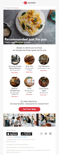 screenshot of an ad showing a recommended choices of shops for the reader