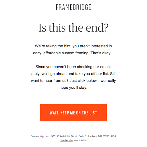 screenshot of a call to action page that offers the reader to be on the waiting list
