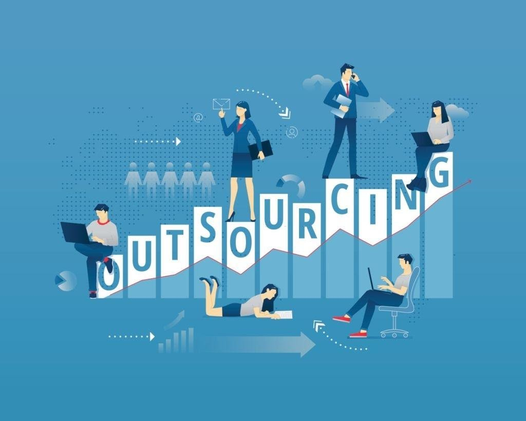 graphic representation showing each letter of the word outsourcing representing a bar graph that scales up and there are six people scattered around the graph