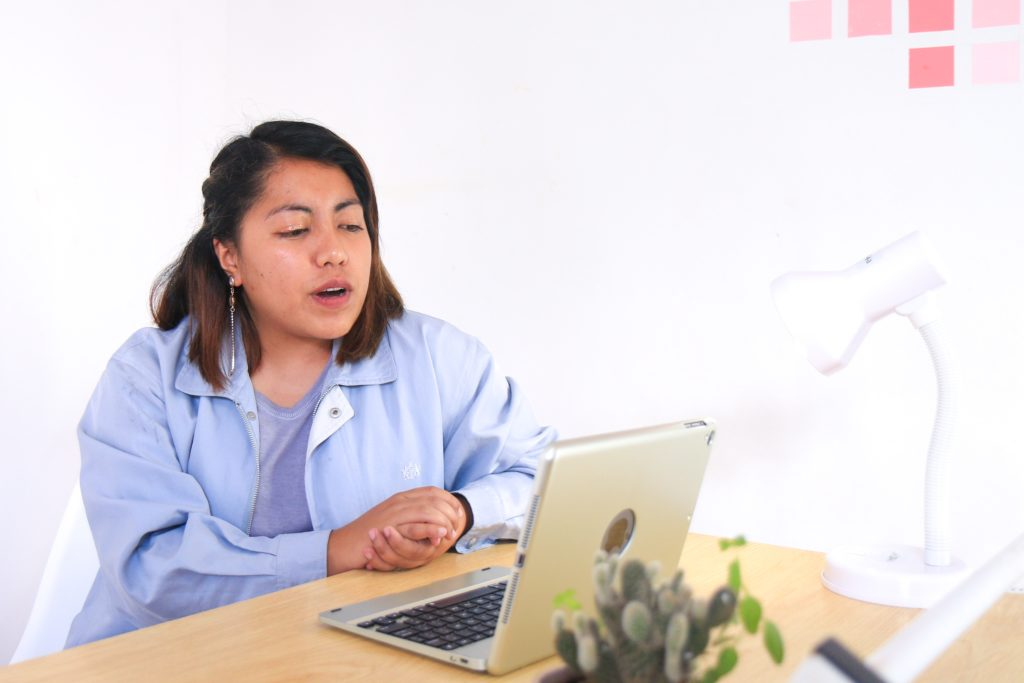 casual woman during skype interview