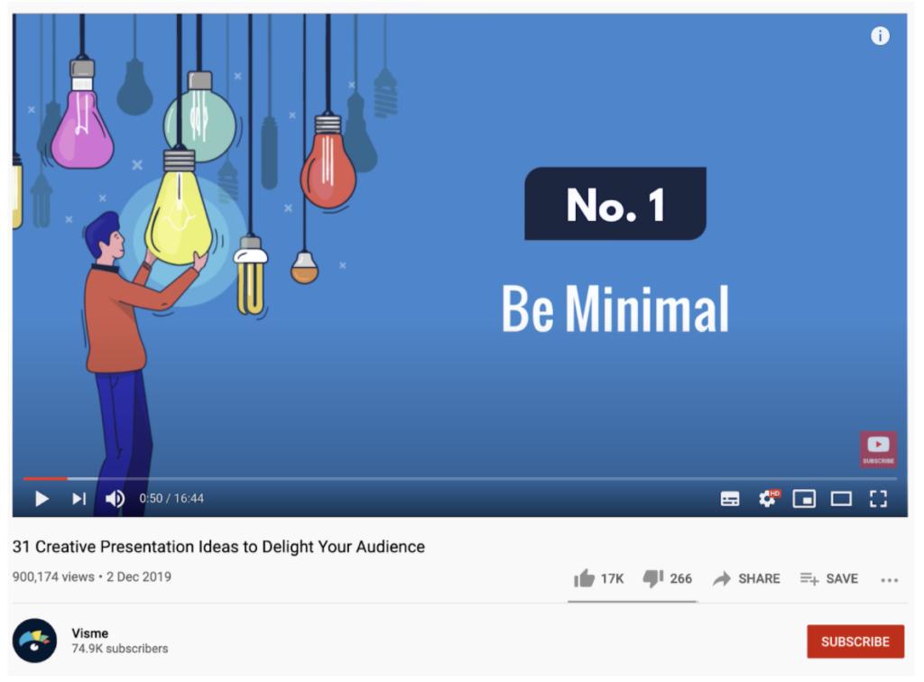 Screenshot from Visme YouTube