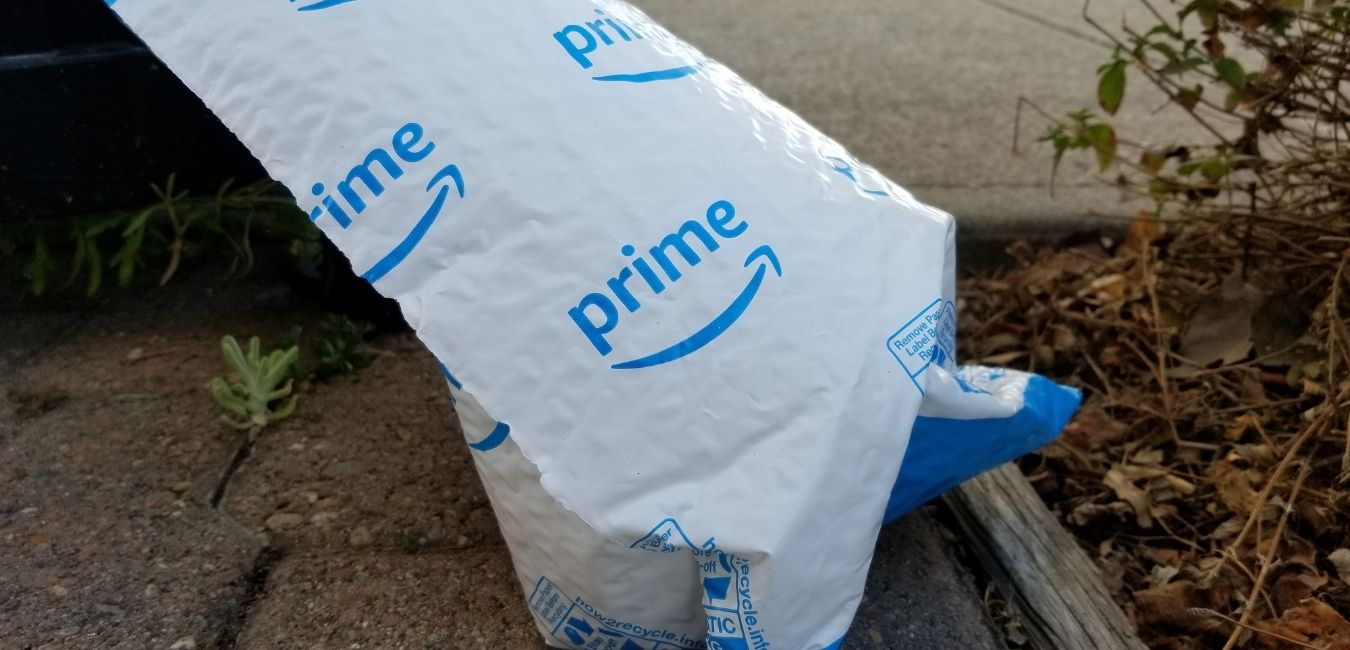 Amazon Prime package sitting outside