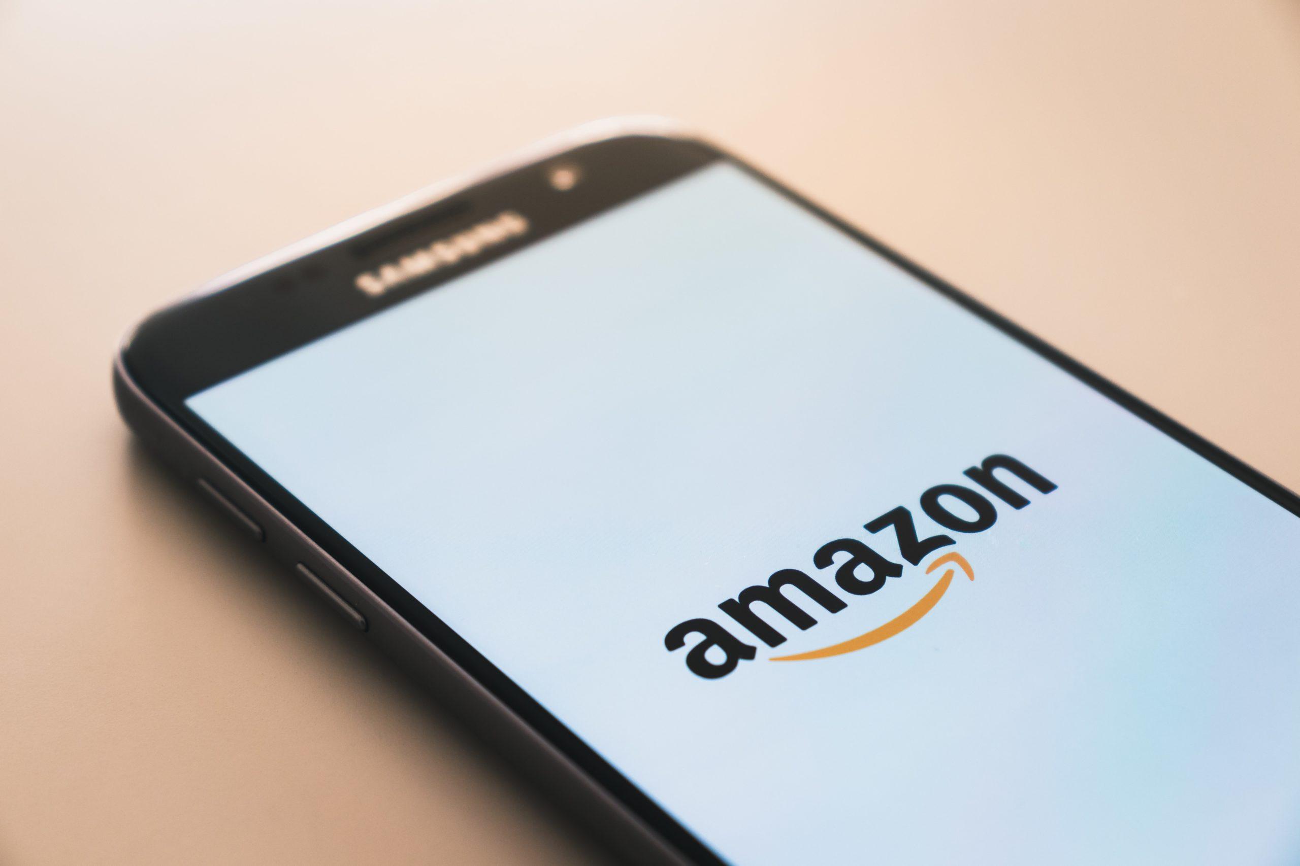 samsung phone with amazon logo on screen