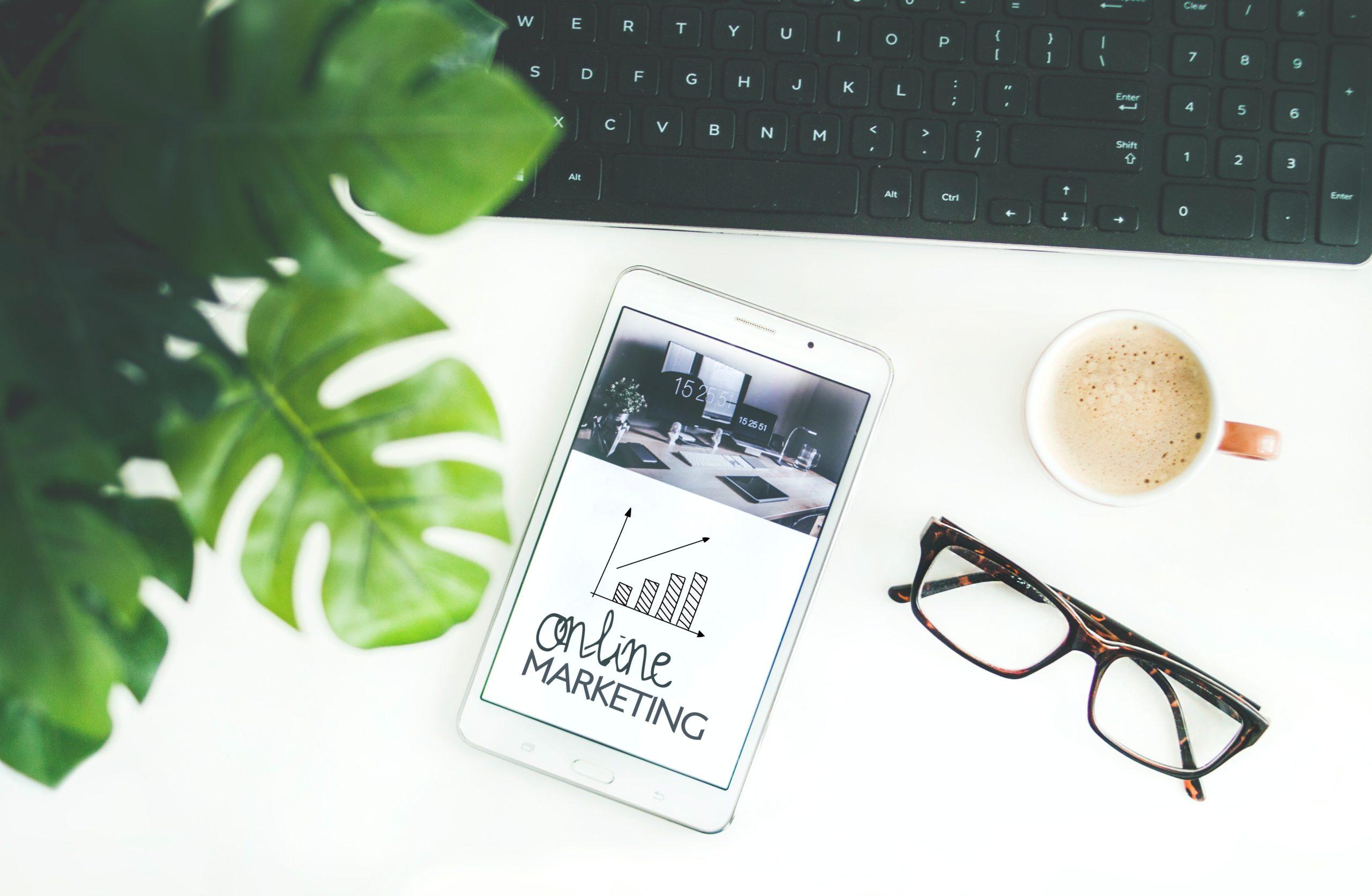 ipad displaying online marketing chart