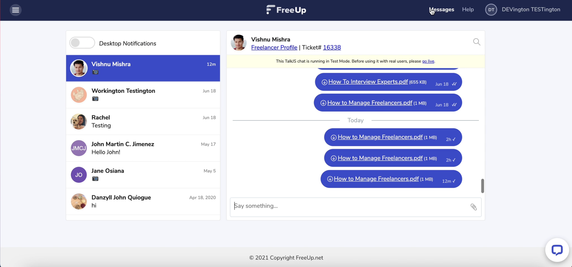 FreeUp Messenger inbox